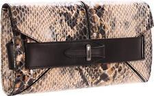 Pour La Victoire Marlow Clutch Snake Purse Handbag Patent Leather Animal Brown