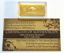 "NEW 10 Gram ""Kangaroo"" Certified Ingot Finished in 999 Fine 24 k Gold a"