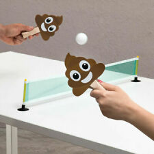 Poo Ping Pong Game Portable Table Tennis Suction Cup Net 2 Poo Paddles 2 Balls