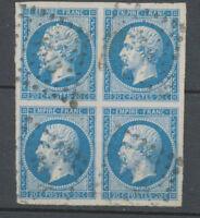 Classique BLOC DE 4 du N°14B 20c bleu Type II obl PC1313 superbe, signé H2180