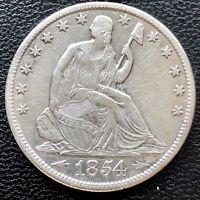 1854 O Seated Liberty Half Dollar 50c High Grade AU Det. #19596