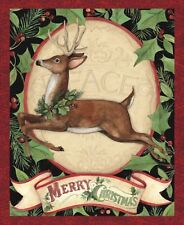 Christmas Woodland Deer Peace Fabric Quilt Top Wall Hanging Panel Susan Winget