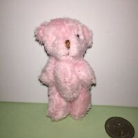 SMALL 6cm **FLUFFY PINK TEDDY BEAR** Dollhouse**GORGEOUS! **GREAT GIFT**