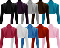 New Women Plain Long Sleeve Ladies Short Crop Shrug Bolero Cardigan Top