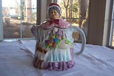 "Vintage TAKAHASHI ""Old Lady with Cat"" Teapot Handpainted - San Francisco"
