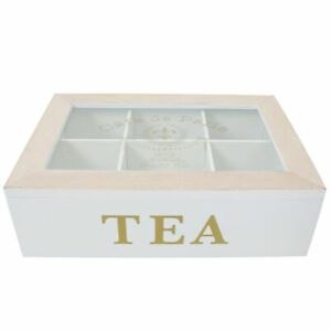Wooden Tea Box 6 or 9 Section Compartments Glass Lid Multi Storage