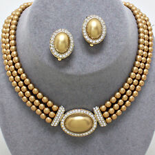 Faux golden pearl diamante necklace earring set gold tone bridal jewellery 0452