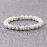 6mm 8mm 10mm Men Women White Natural Stone Gemstone Round Beads Charm Bracelets