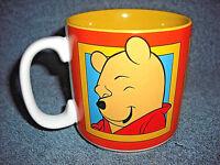 DISNEY WINNIE THE POOH PORCELAIN CERAMIC COFFEE CUP MUG ORANGE & YELLOW - NICE