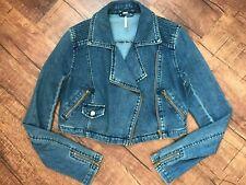 Free People Jean Moto Cropped Short Jacket Womens XS Denim Zipper Long Sleeve