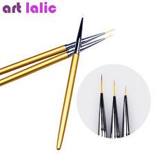 3Pcs Gold Nail Art Liner Pen Brush Brushes Metal Light Handle 3D Design Drawing