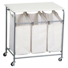 Used A Heavy Duty Rolling Triple Laundry Sorter/Organizer/Hamper/Cart With Wheel