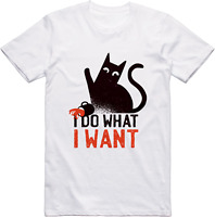 Bad Cat T Shirt I Do What I Want Regular Fit 100% Cotton Tee