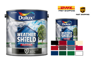 Dulux Weathershield Exterior High Gloss Paint - All Sizes and Colours