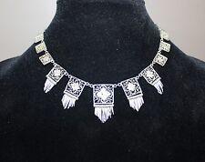 Antique Art Deco Silver Filigree Fringe Cannetille Outstanding Necklace