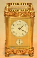 Antique French Enamel Bronze Dore Signed Striking Alarm Officers Carriage Clock