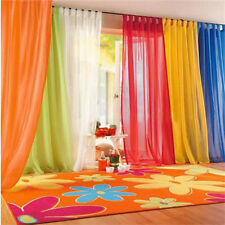 Coloful Floral Tulle Voile Door Window Curtain Drape Panel Sheer Divider
