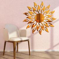 3D Acrylic Mirror Sun Flower Self-adhesive Wall Sticker Art Decal Home Decor