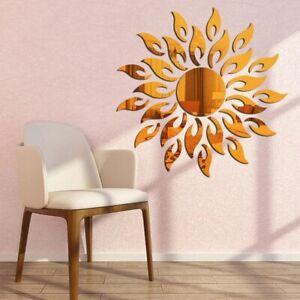 3D Mirror Sun Flower Acrylic Removable Mural DIY Art Wall Stickers Home Decor