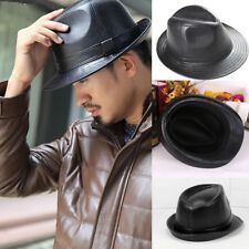 AU Vintage Mens Womens Leather Jazz Gentleman Classic Trilby Fedora Hats AU