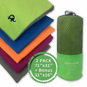 Travel towel microfiber (GREEN) 2 packs