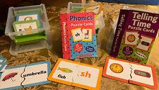 Scholastic pre K-1st grade Alphabet, Phonics, TimePuzzle Cards Learning ~Nice!