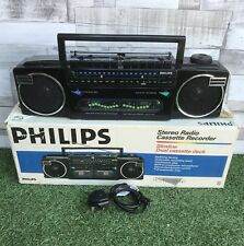 VINTAGE RADIO STEREO PHILIPS D8077 REGISTRATORE A CASSETTE GHETTOBLASTER BOOMBOX in Scatola