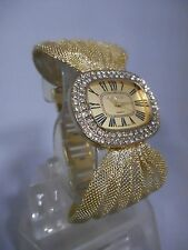 Geneva Women's Mesh Band Watch Oval Face Stones Roman numbers Gold Silver Copper