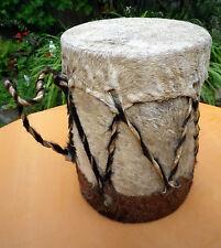 African Goat Skin Bongo Rattle Drum Ethnic Music Craftwork