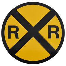 Yellow Metal Caution Railroad Crossing Road/Street Sign Warning Train RR XING