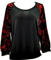 Alyx Womens Top Stretch Scoop Neck Pullover Black With Red Velvet Sleeve Size 3x