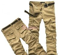 Mens Khaki Pockets Cargo Pants Long Trousers Baggy Straight Leg Outdoor Spring