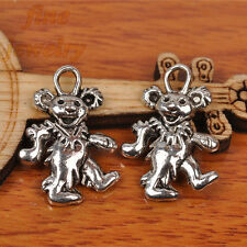 50Pcs 21mm Charms Rock Roll Bear Pendant Tibet Silver DIY Jewelry Spacer 7235