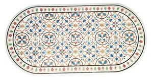 White Marble Dining Table Top Rare Mosaic Inlay Lapis Gemstone Home Decor H2480