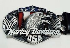 Genuine Leather Embossed 10cm Harley Davidson Buckle Mens Belt Premium Qlty