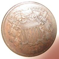 1864 2 Cent Small Motto ANACS V/F L@@K