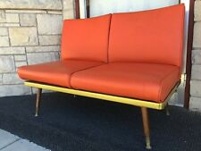 Mid Century Modern Gregson Floating Platform Settee Sofa in Orange