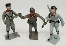 3x Vintage plastic toy soldiers 70 mm Cherilea German Grey Rare Bundle