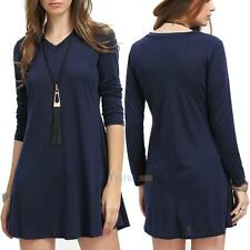 Women Summer Casual Long Sleeve Evening Party Cocktail Short Mini Dress Sweater