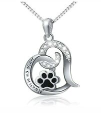 Best Dog Paw Necklace For Women Love Always In My Heart Engraved Jewelr SILVER