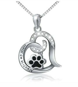 Best Dog Paw Necklace For Women Love Always In My Heart Engraved Jewelry SILVER