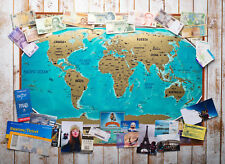 BIG VINTAGE SCRATCH OFF WORLD MAP + GIFT TUBE ,  WORLD PUSH PIN TRAVEL POSTER