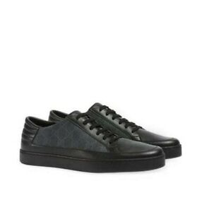 Gucci Black Leather & GG Supreme Sneakers Black Soles $590