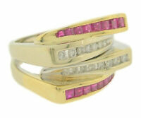 Ladies 14K Yellow Gold Ruby and Diamond Dinner Fashion Ring