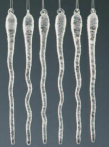 GLASS ICICLES Christmas Tree Decoration Wavey Droplet  Set of 6 15cm