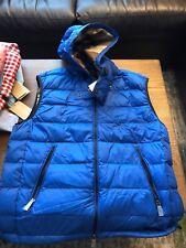 New Authentic Burberry Brit Plaid Inside Men Down Vest Blue Hoodie Large $695