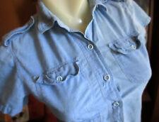 Xs 00006000  True Vtg 70s Ultra Thin 100% Cotton Chambray Denim Boho Pocket Commando Top