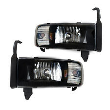 Headlights for 1994-2002 Dodge Ram 1500 2500 3500 - Black/Clear