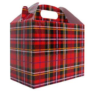 10 x TARTAN CHRISTMAS GABLE GIFT BOXES - XMAS Gift Hamper Sweet Box