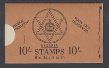 Nigeria SG SB9 unexploded 1957 10sh intact booklet w/ original seal in place